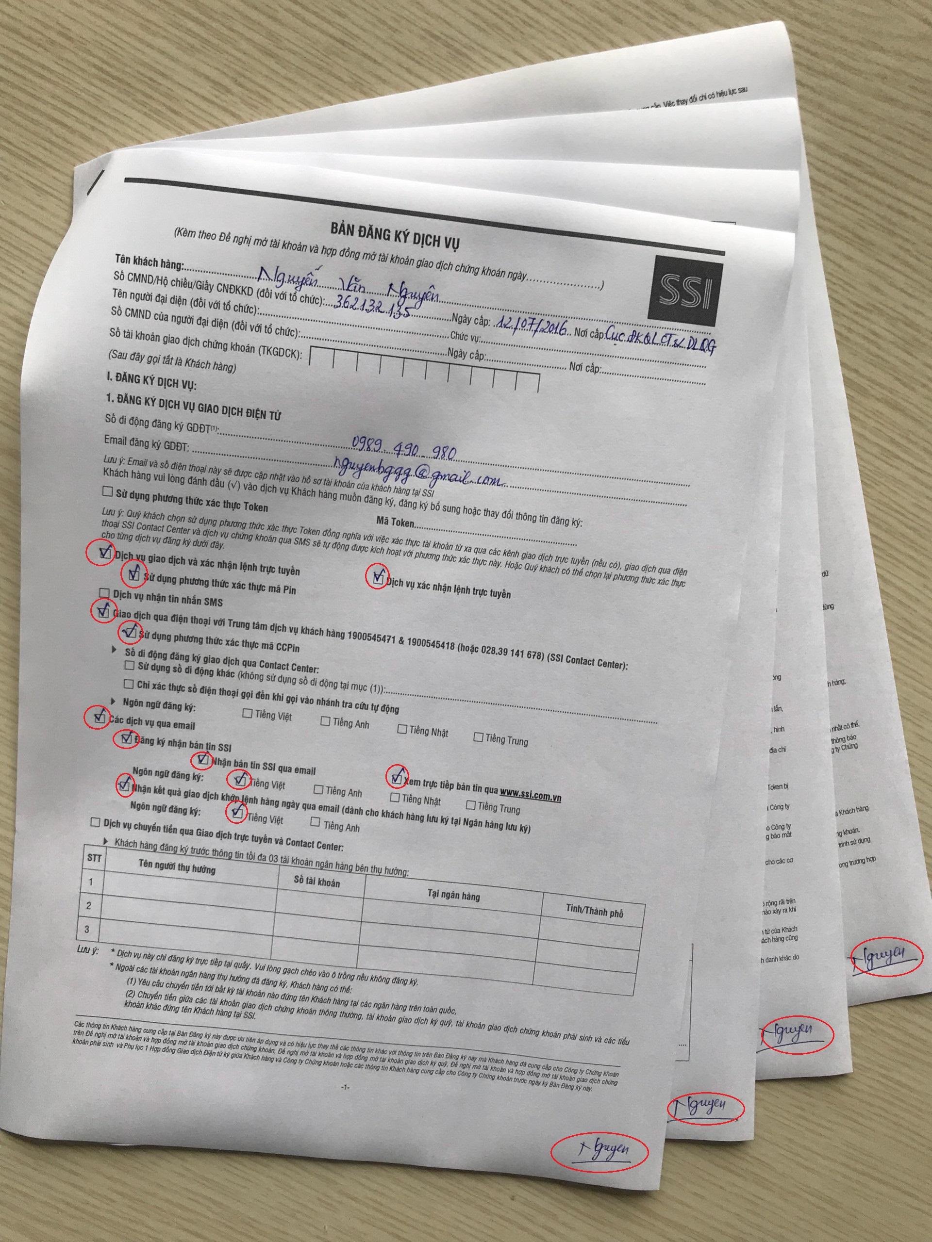 Bản đăng ký dịch vụ SSI 1
