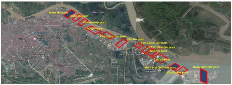 Bản đồ khu vực cảng Hải Phòng