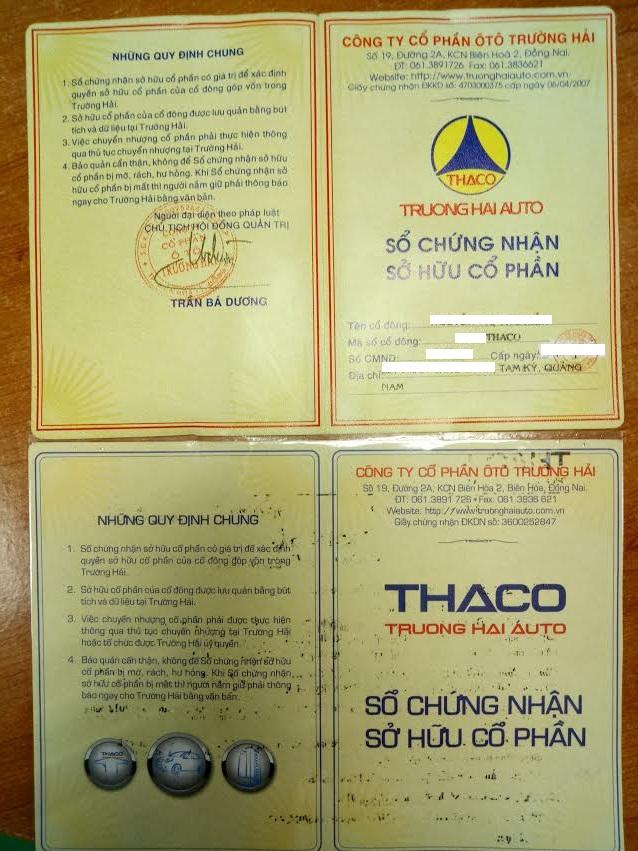 sổ cổ đông THACO