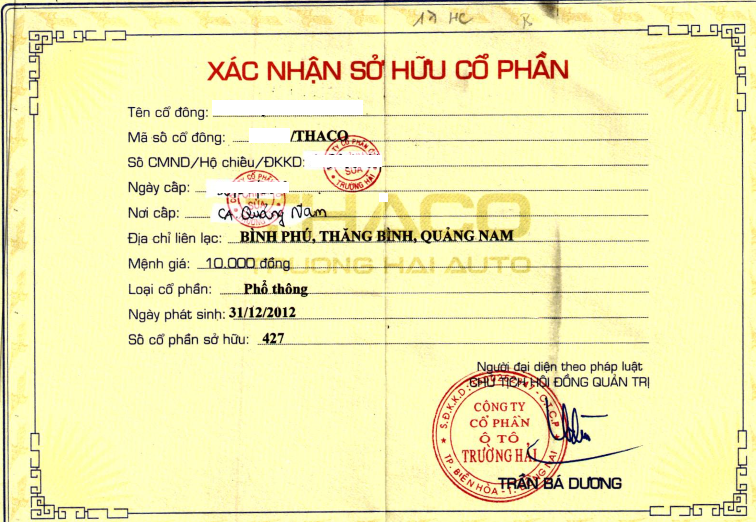 Giấy chứng nhận sở hữu cổ phần THACO