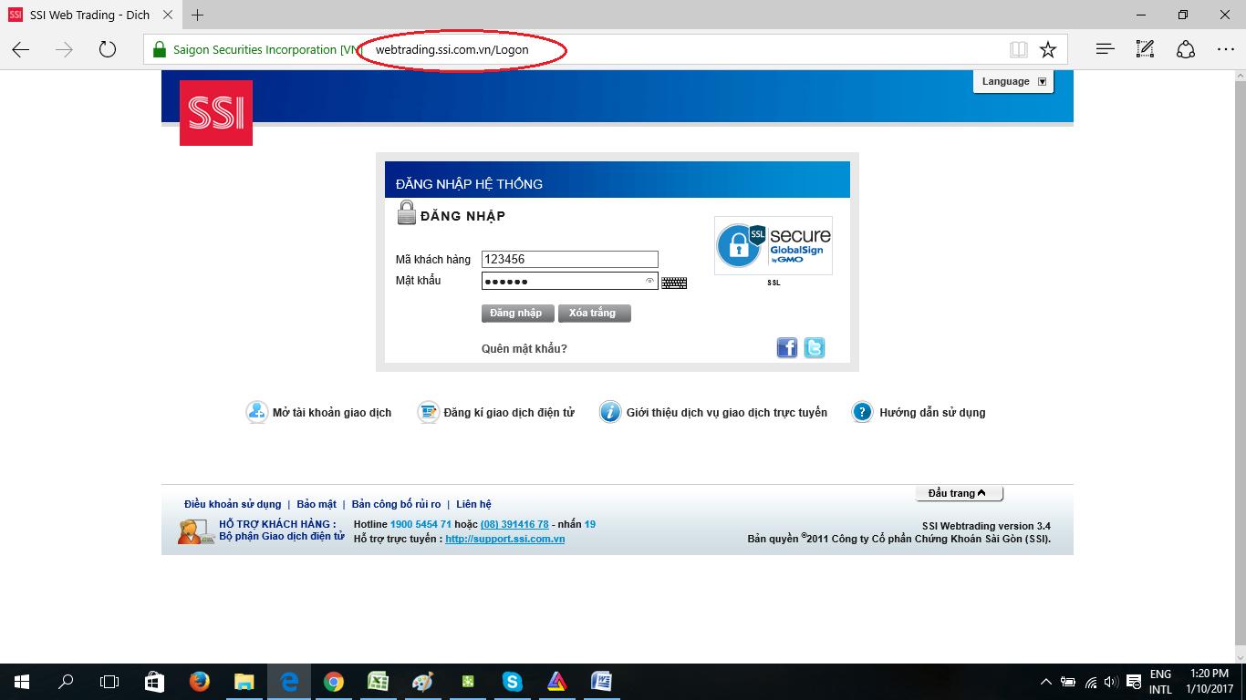 đăng nhập vào tài khoản trực tuyến SSI Web Trading