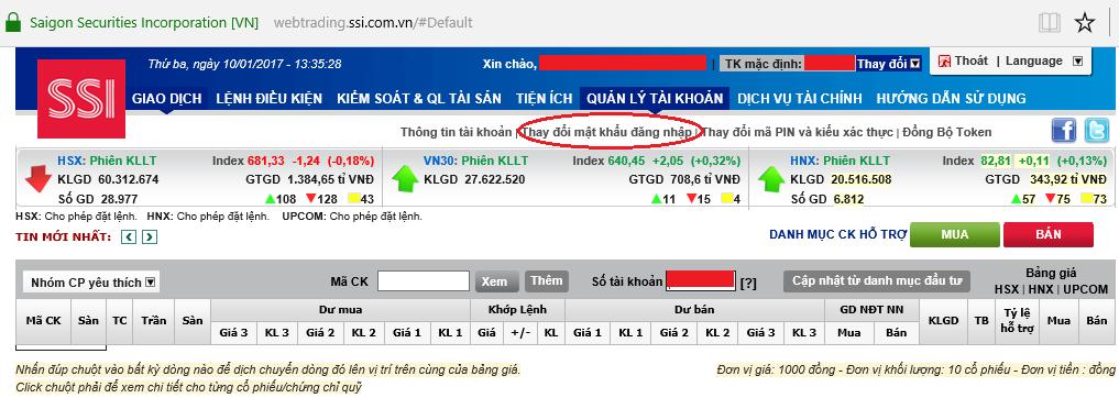 đăng nhập vào tài khoản trực tuyến SSI Web Trading ssi3