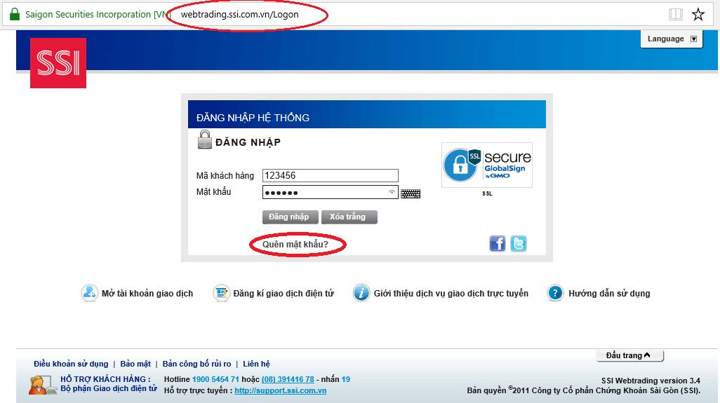 Trường hợp quên mật khẩu đăng nhập