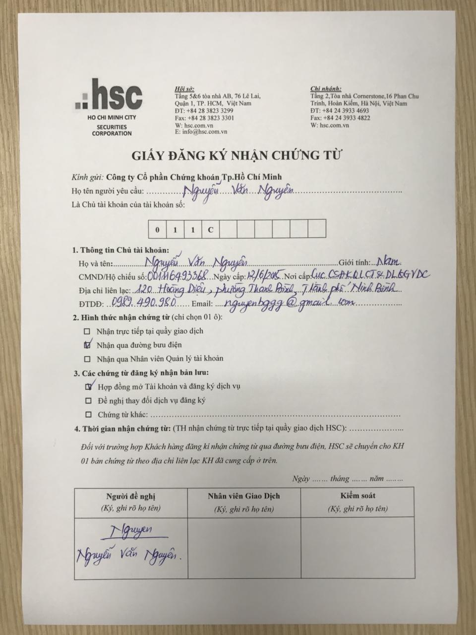 Mẫu giấy đăng ký nhận chứng từ.