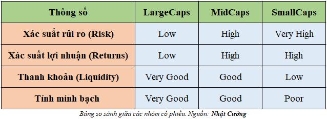 Bảng so sánh giữa các nhóm cổ phiếu LargeCaps, Midcaps, smallcaps