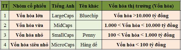 Largecaps , midcaps, smallcaps là gì?