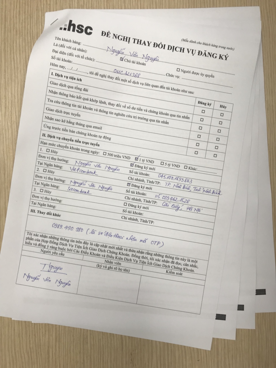 Mẫu đăng ký dịch vụ rút tiền online tại HSC