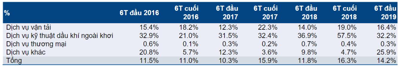 PVT – Tỷ suất lợi nhuận gộp 6 tháng đầu năm
